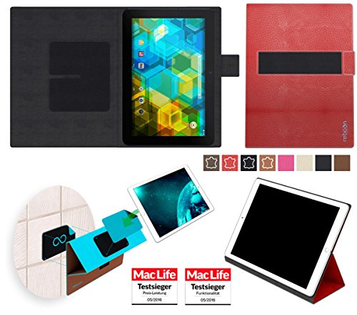 reboon Hülle für BQ Edison 3 Tasche Cover Case Bumper   in Rot Leder   Testsieger