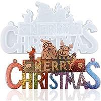 クリスマスシリコーン樹脂モールド、メリークリスマスレターモールド、DIYテーブルデコレーション用エポキシキャスティングモールド、ホームオーナメント (White, 30cm*16cm*1.5cm)