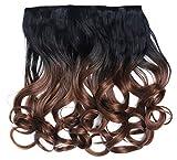 WIG ME UP - CMT-863-1BTT12 clip-in extension de cheveux arrière de la tête large 5 clips bouclé boucles dégradé noir rouge grenat 40 cm