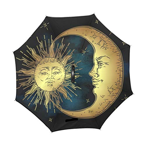 Lowest Prices! TropicalLife Double Layer Inverted Umbrella Boho Sun Moon Star Reverse Umbrella