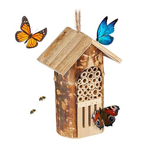 Relaxdays Insektenhotel, Nisthilfe Wildbienen & Schmetterlinge, hängend o. stehend, Garten, HBT: 20 x 13,5 x 10cm, Natur