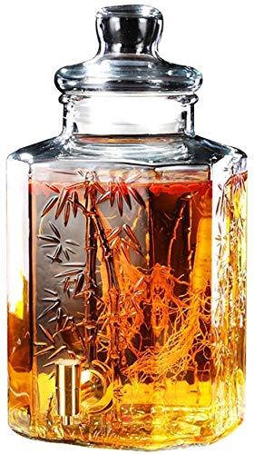 GAOLILI Wasserhähne Hahn Getränkezufuhr Weinglas Weckglas Glas Getränk Dispenser mit Hahn Holzrahmen Glasabdeckung 5L Getränkeautomat (Farbe: 5L-Edelstahl-Holz-Basis), Farbe: 5l-Edelstahl-Holz-Basis