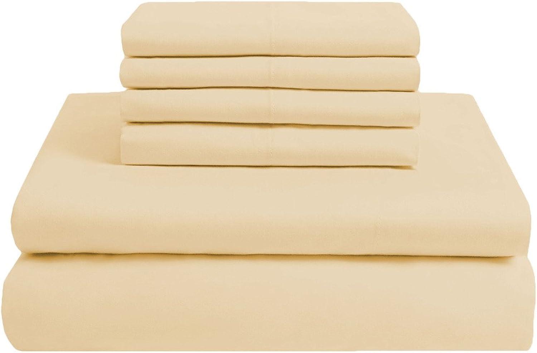 Scalabedding 100% coton égypcravaten 300fils 6pièces Taille complète Poche profonde de feuille solide Beige