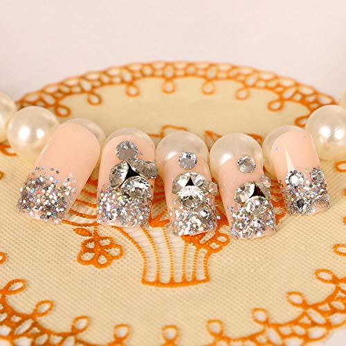 CSCH Faux ongles Shining pure color bride full nail tips french Cute elegant fake nails Japanese 3D false nails set middle-long full nail tips