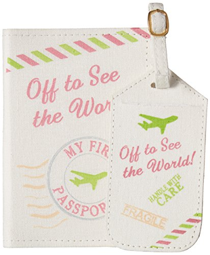 Lillian Rose Luggage Tag and Passport, Pink/World, 6.75' x 5.75'
