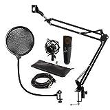 auna MIC-920B V4 - USB-Mikrofon-Set, Kondensatormikrofon, Plug & Play, USB, Klinken-Kopfhörerausgang, Mikrofonspinne und Pop-Schutz, Mikrofonständer/Mikrofonarm, positionsstabil, schwarz