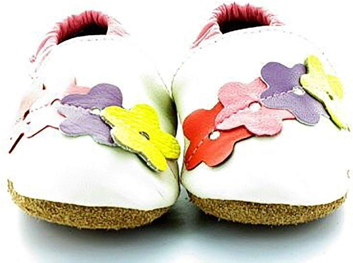 Liloopop Chaussons B/éb/é Cuir Souple Farandoles de Fleurs Blanc