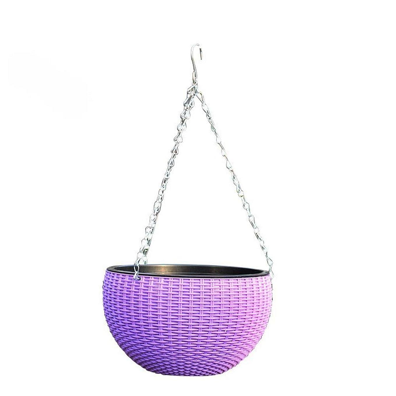 ジャンクションあまりにもこどもの日ハンギングバスケット ホーム製品現代のフラワーポットをハンギングプランターフレーム工場インテリアハンギングプランターポットウォールハンギング 観葉植物 (Color : Purple, Size : 26*18*13cm)