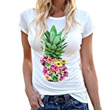 Highpot Women's Fashion Pineapples Short Sleeve Tops Hawaiian Casual T Shirt (L, White)