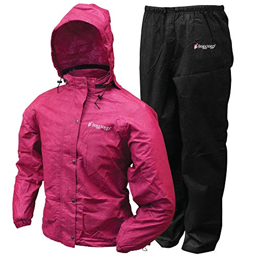 frogg toggs Women's Classic All-Sport Waterproof Breathable Rain Suit, Cherry/Black, Medium
