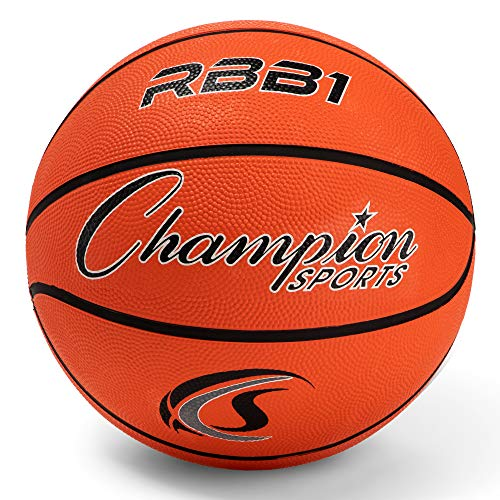 "Champion Sports Official Heavy Duty Rubber Cover Nylon Basketballs, Official (Size 7 - 29.5""), Orange"