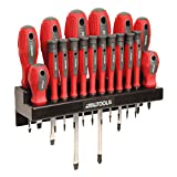 Great Working Tools Multi-Piece Screwdriver Set - Magnetic Tips and Chrome Vanadium Steel Blades with Storage Rack - 18 Pieces for Home Repair Projects