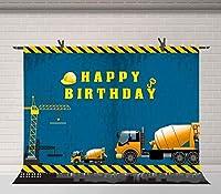 HD建設テーマ誕生日パーティー背景トラック少年誕生日バナー装飾用品写真背景Photobooth小道具10X7ft BJQQFU208