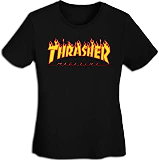 Magazine Women's Shirt Girls Short Sleeve Flame Crew T-Shirt Classic Tee