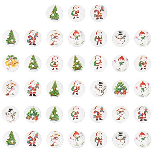 EXCEART 200Pcs Christmas Wooden Buttons 2 Holes Snowmen Xmas Tree Santa Claus Clothes Craft Button Embellishments Sewing Button Table Confetti for DIY Craft Scrapbooking