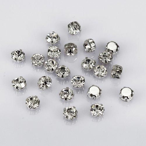 Lollibeads™, strass tondi in cristallo di Boemia su castone, con base in ottone placcato in argento, per lavori di cucito fai da te, Vetro, White Crystal-7mm-50pcs