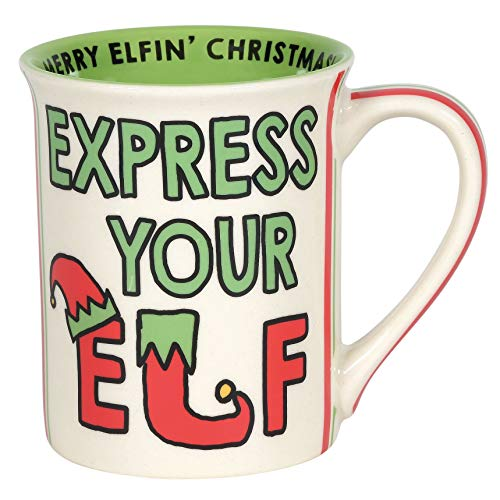 ENESCO Our Name is Mud Holiday Express Your Taza de café elfo, gres, Multicolor