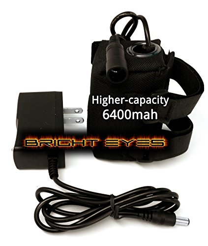 Bright Eyes The Best Bike Light Battery - Now Higher Capacity - Works with CREE T6 LED 1200lm Bike Lights - 8.4V (6400mAh Battery + Charger)