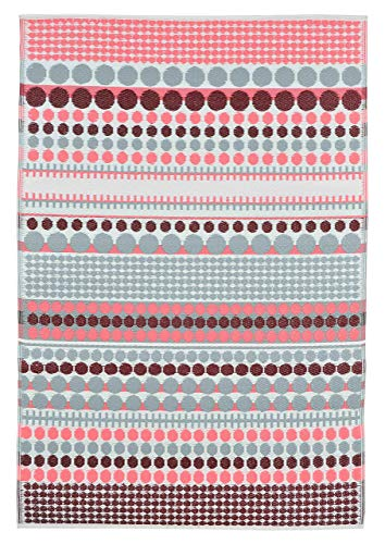 Green Decore - Alfombra de plástico Reversible para Exteriores (120 x 180 cm), Color Rojo y Rosa