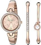 Anne Klein Women's Swarovski Crystal Accented Rose Gold-Tone Watch and Bangle Set, AK/3288RGST