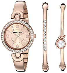 Rose Gold Swarovski Crystal Accented Watch and Bangle Set