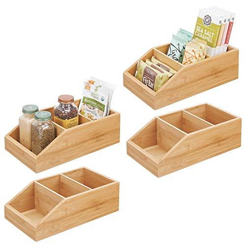 mDesign Juego de 4 Cajas organizadoras para Especias, Snacks y Alimentos envasados – Organizador de Cocina con 3 Compartimentos en Madera de bambú – Cajón de Madera Descubierto – Color Natural