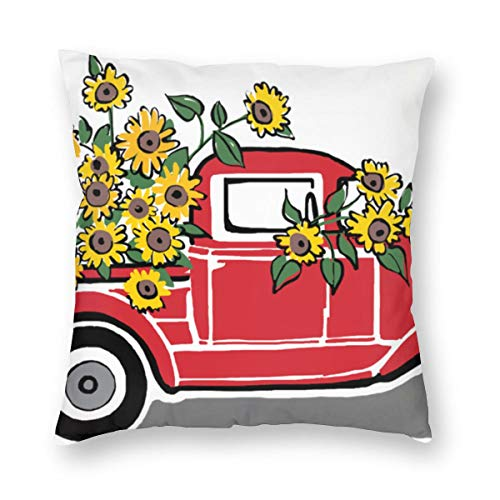 Overlanlobal Rustic Vintage Red Truck Sunflowers Square Pillow Throw Pillow Covers Home Sofa Cars Decors White 18'' X18