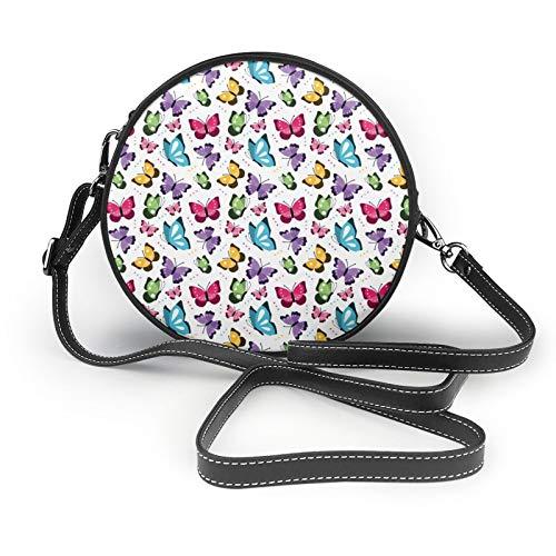 Colorful Butterflies Flying Womens Fashion Round Crossbody Shoulder Bag Handbag Small Wallet School Work Bag