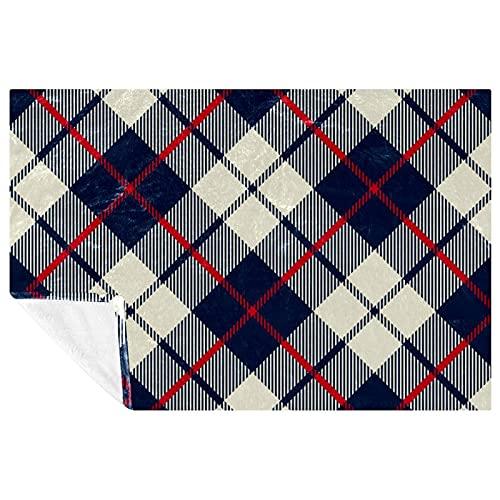 BestIdeas Manta con estampado de cuadros geométricos, color crema, azul marino, rojo, suave, cálida, acogedora, para cama, sofá, picnic, camping, playa, 150 x 100 cm