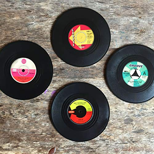 Ossian Pack van 4 Vinyl Coasters – Vintage Retro Record Ontwerp Drink Bar Placemat Muziek Disc Coaster Set Servies voor Thee Koffie Mok Cup Bier Wijn Pint Glas Thuis Keuken Tafel Party Nieuwigheid Gift