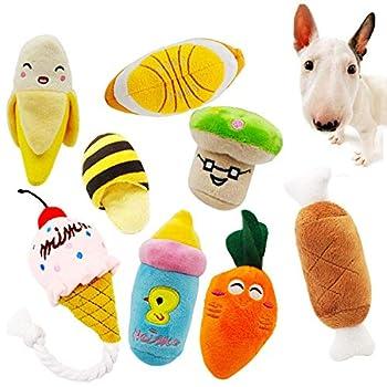 Peluches grinçantes pour chien - Jouets à mâcher pour animaux domestiques - Couleurs variées - Lot de 8