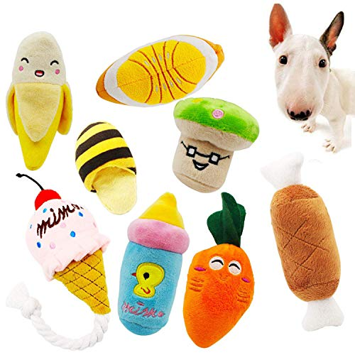 Quietschendes Hundespielzeug, aus Plüsch, Kau-Spielzeug-Set, für kleine oder mittelgroße Hunde und Katzen, 8 Stück