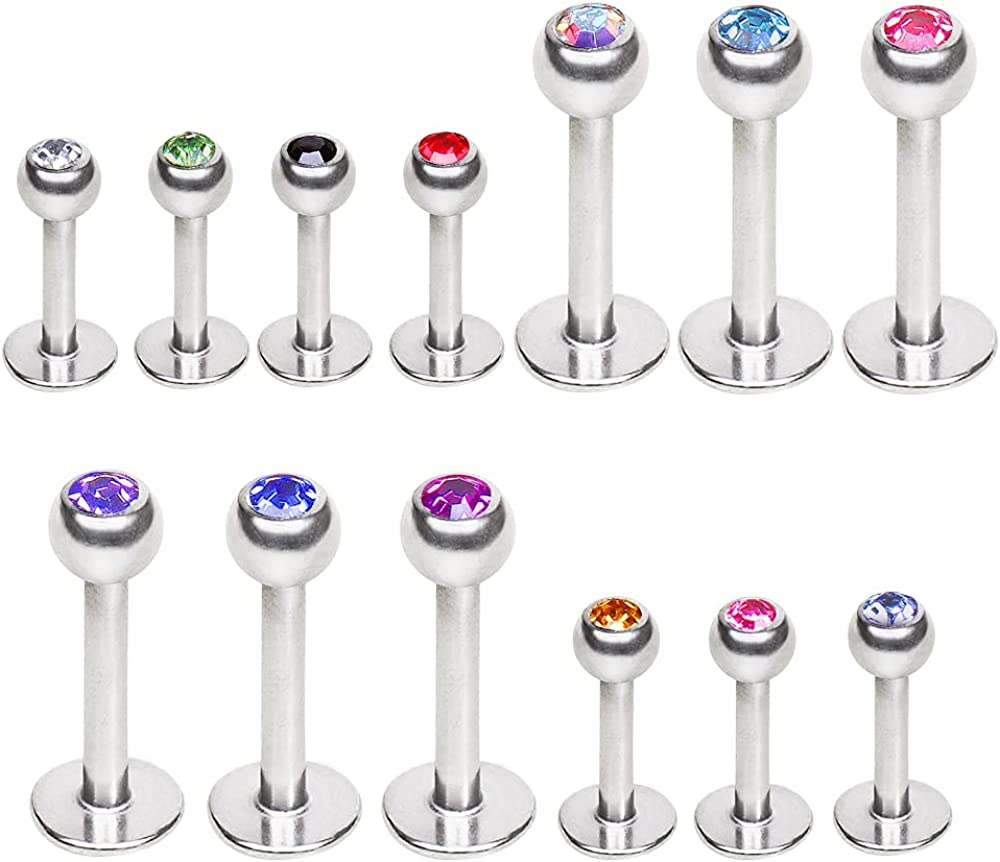 316L Surgical Steel Labret / Monroe with Gemmed Ball 1.2mm x 12mm Clear
