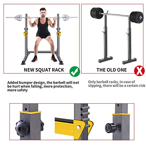 Adjustable Squat Rack Multi-Function Barbell Rack Dip Stand Barbell Stand Weight Lifting Rack Home Gym Fitness Weight Lifting Bench Press Dipping Station
