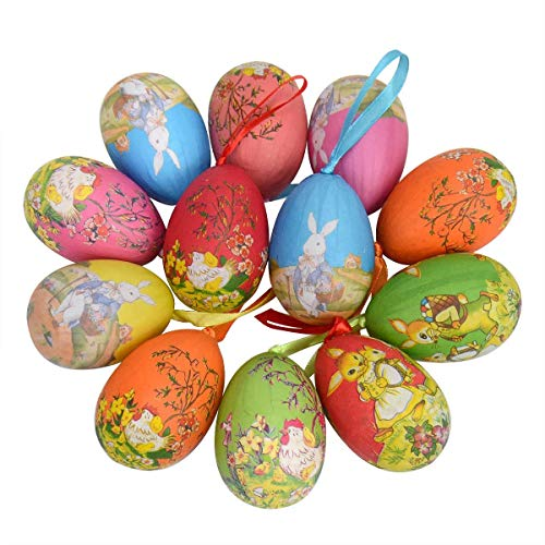 Vacclo 12 Pack Easter Hanging Eggs Ornaments New Vintage Style Colorful Painted Paper Egg Hanging Decoration