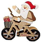 Trends & Trade X-Mas F65 - Figura de Papá Noel en bicicleta (13 x 13 cm, madera)