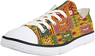 K0k2t0 Canvas Sneaker Low Top Shoes,Cabin Decor Wild Forest Animals Set with Laurel Branches Cartoon Style Funny Characters
