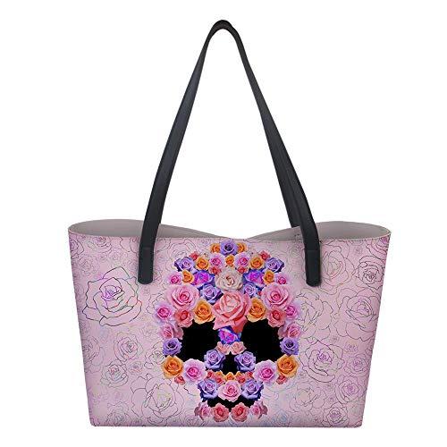Hiser Bolsos Totes Mujer, Impreso Bolso de Bandolera Bolsa de Mano Grande Bolsa de Hombro Bolso Totalizador Moda Bolsa de Compras PU Cuero Billetera 2pcs Set (Rosa rosada,38x12x33cm)