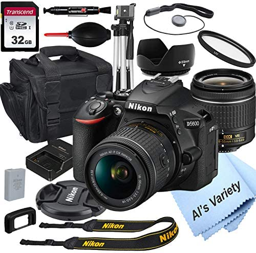 Nikon D5600 DSLR Camera with 18 55mm VR Lens 32GB Card Tripod Case and More 18pc Bundle product image
