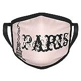 Reebos Cara de tela de la torre Eiffel de París rosa vintage Ma-sk transpirable y ajustable para hombres y mujeres al aire libre ciclismo camping viajes