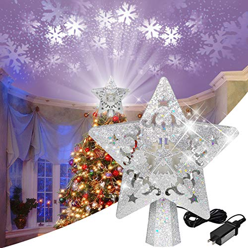 ACMETOP Christmas Tree Topper, Star Tree Topper LED Snowflake Projector Light with 360° Rotating, 3D Hollow Glitter Silver Tree Topper for Christmas Decorations and Children's Night Light Projector