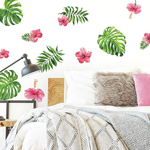 RoomMates Tropical Hibiscus Flower Peel And Stick Wall Decals, Pink, Green, Orange, 4 Sheets 9 Inches X 17.375 Inches - RMK3904SCS