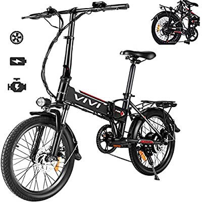 Vivi Electric Bike, 20 Inch Folding Bikes for Adults/Women/Men, 350W Ebike with 36V 8AH Removable Battery, 7 Speed Aluminum Alloy City Folding Bicycle