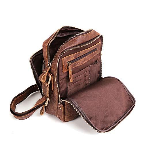 BAIGIO Schultertasche Umhängetasche Herren Leder Vintage Herrentasche Messenger Bag mit Schultergurt für Arbeit Reise Alltagsleben (Braun)