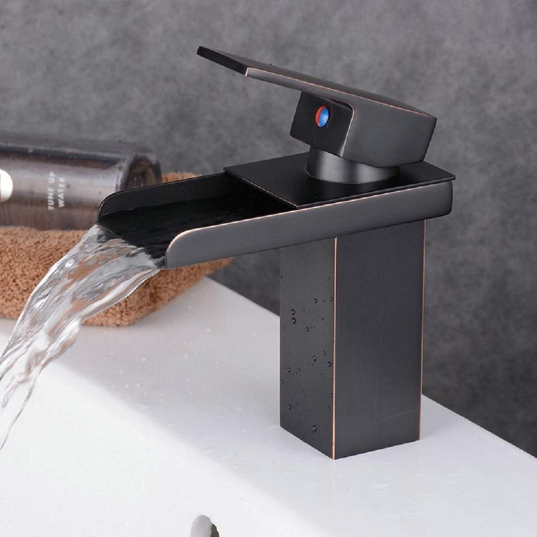 ZHANGZHIYUA Waterfall Bathroom Vessel Sink Faucet Single Handle One Hole Lavatory Oil Rubbed Bronze Tall Body