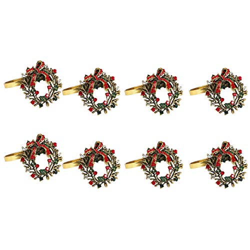 WOVELOT 8 Pack Wreath Napkin Rings for Wedding,Christmas,Thanksgiving and Home Kitchen for Casual or Formal