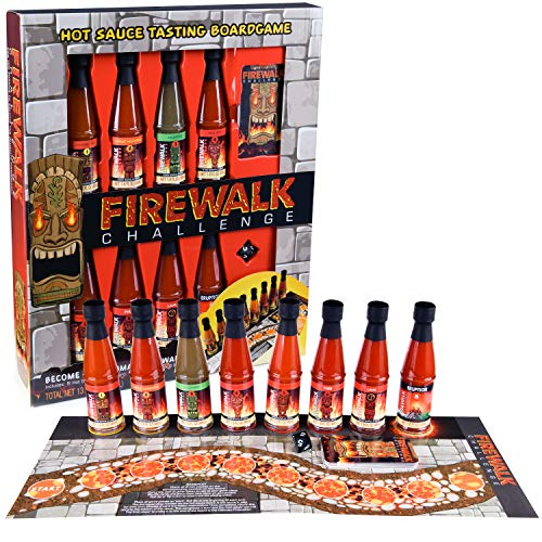 Thoughtfully Gifts, Firewalk Challenge Gift Set, 1.6 Ounces Each, Includes 8 Different Hot Sauces, Gameboard, Challenge Cards and 8 Sided Dice