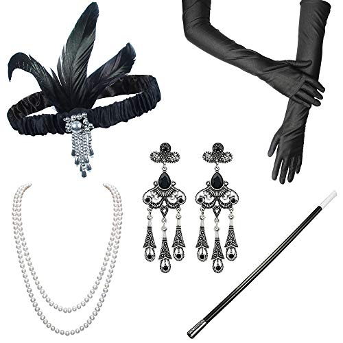 ResPai 1920s Jahre Accessoires Flapper Set Stirnband Perlen Halskette Lange Schwarze Handschuhe Zigarettenspitze Great Gatsby Motto Party Kleider Damen Kostüm Accessoires,5 in 1 (Isabelle)
