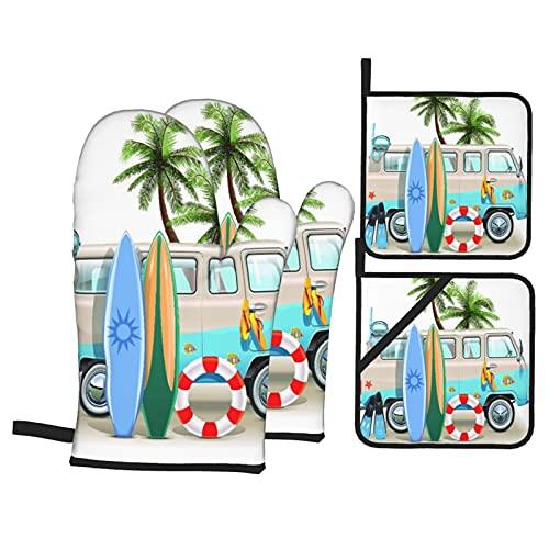 Juego de 4 Manoplas para Horno y Soportes para ollas,Concepto de Fin de Semana de Surf con Elementos de Buceo,Aletas para esnórquel y Viaje en Furgoneta Relax Peace