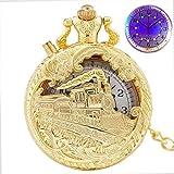 IOPMIE Pocket Watch Top Luxury Gold Luminous LED Quartz Pocket Watch Train Locomotive Engine Steampunk Quartz FOB Light Watch Gifts for Men Women,Gold with LED